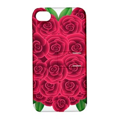 Floral Heart Apple Iphone 4/4s Hardshell Case With Stand