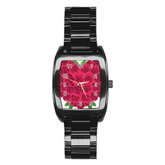 Floral Heart Stainless Steel Barrel Watch