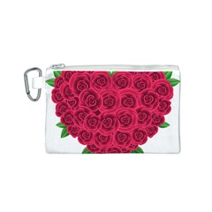 Floral Heart Canvas Cosmetic Bag (s)