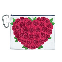 Floral Heart Canvas Cosmetic Bag (l)
