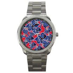 Batik Background Vector Sport Metal Watch