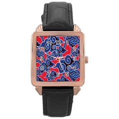 Batik Background Vector Rose Gold Leather Watch