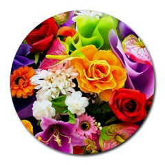 Colorful Flowers Round Mousepads