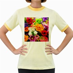 Colorful Flowers Women s Fitted Ringer T Shirts