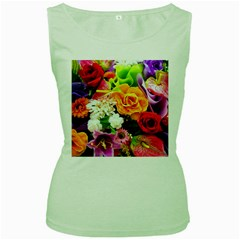 Colorful Flowers Women s Green Tank Top
