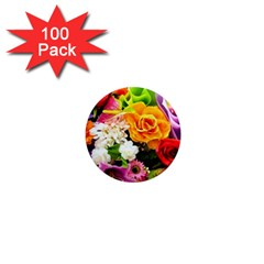 Colorful Flowers 1  Mini Magnets (100 Pack)