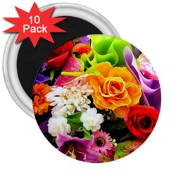 Colorful Flowers 3  Magnets (10 Pack)