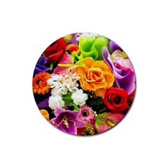 Colorful Flowers Rubber Round Coaster (4 Pack)