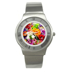 Colorful Flowers Stainless Steel Watch
