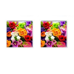 Colorful Flowers Cufflinks (square)