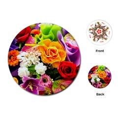Colorful Flowers Playing Cards (round)