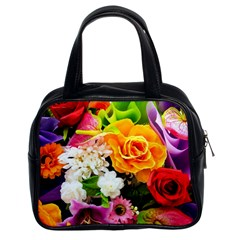 Colorful Flowers Classic Handbags (2 Sides)