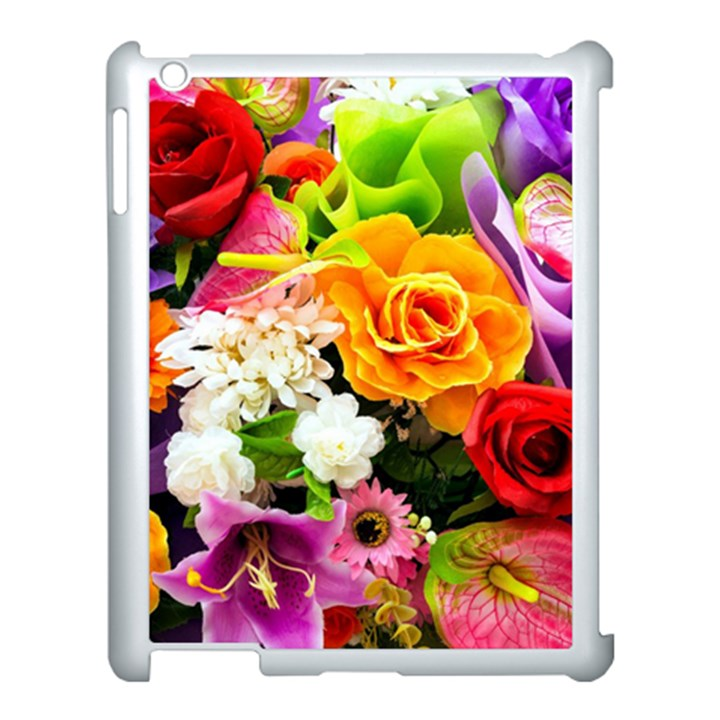 Colorful Flowers Apple iPad 3/4 Case (White)