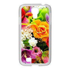 Colorful Flowers Samsung Galaxy S4 I9500/ I9505 Case (white)
