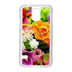 Colorful Flowers Samsung Galaxy S5 Case (white)
