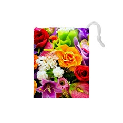 Colorful Flowers Drawstring Pouches (small)