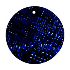 Blue Circuit Technology Image Ornament (round)