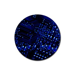 Blue Circuit Technology Image Rubber Round Coaster (4 Pack)
