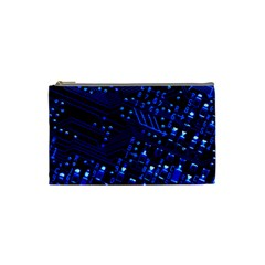 Blue Circuit Technology Image Cosmetic Bag (small)