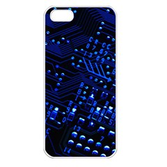 Blue Circuit Technology Image Apple Iphone 5 Seamless Case (white)
