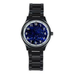 Blue Circuit Technology Image Stainless Steel Round Watch