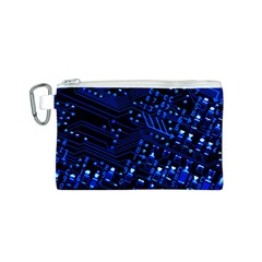 Blue Circuit Technology Image Canvas Cosmetic Bag (s)