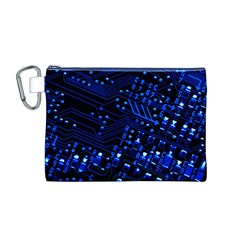 Blue Circuit Technology Image Canvas Cosmetic Bag (m)