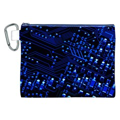 Blue Circuit Technology Image Canvas Cosmetic Bag (xxl)
