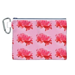 Pink Floral Pattern Canvas Cosmetic Bag (l)