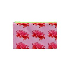 Pink Floral Pattern Cosmetic Bag (xs)