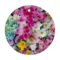 Colorful Flowers Patterns Ornament (round)