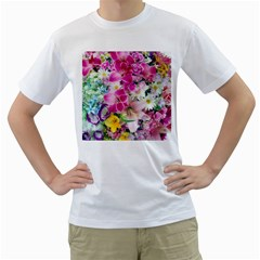 Colorful Flowers Patterns Men s T Shirt (white) (two Sided)