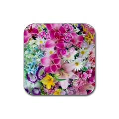Colorful Flowers Patterns Rubber Coaster (square)