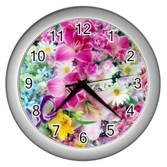 Colorful Flowers Patterns Wall Clocks (silver)