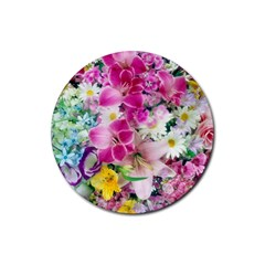 Colorful Flowers Patterns Rubber Coaster (round)