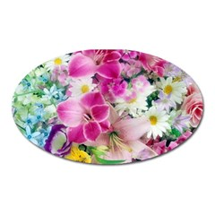 Colorful Flowers Patterns Oval Magnet