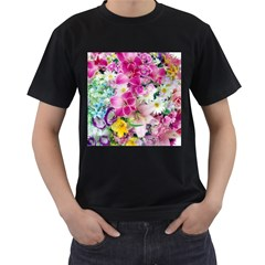 Colorful Flowers Patterns Men s T Shirt (black) (two Sided)