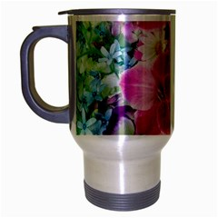 Colorful Flowers Patterns Travel Mug (silver Gray)