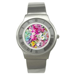 Colorful Flowers Patterns Stainless Steel Watch