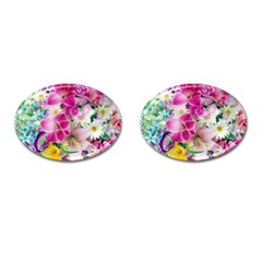 Colorful Flowers Patterns Cufflinks (oval)