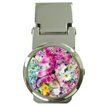Colorful Flowers Patterns Money Clip Watches Front