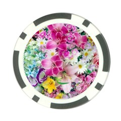 Colorful Flowers Patterns Poker Chip Card Guard