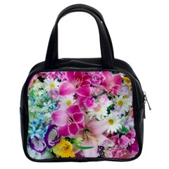 Colorful Flowers Patterns Classic Handbags (2 Sides)