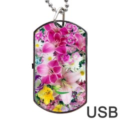 Colorful Flowers Patterns Dog Tag Usb Flash (one Side)