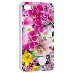 Colorful Flowers Patterns Apple Iphone 4/4s Seamless Case (white)