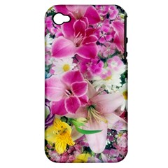 Colorful Flowers Patterns Apple Iphone 4/4s Hardshell Case (pc+silicone)