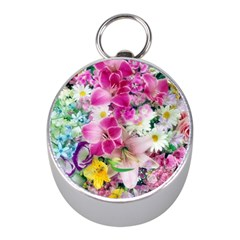 Colorful Flowers Patterns Mini Silver Compasses