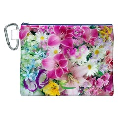 Colorful Flowers Patterns Canvas Cosmetic Bag (xxl)