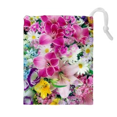 Colorful Flowers Patterns Drawstring Pouches (extra Large)
