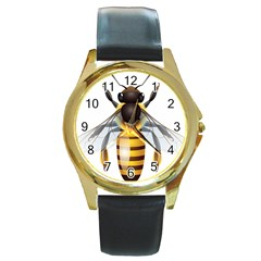 Bee Round Gold Metal Watch